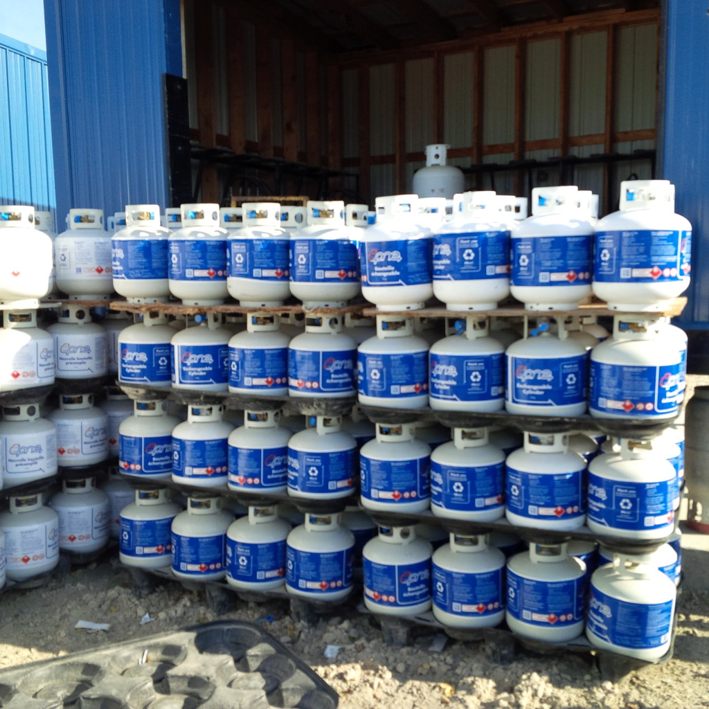 propane tanks staked in rows