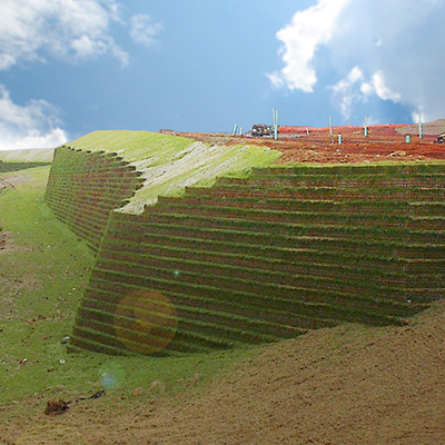 large retaining wall made in side of hill