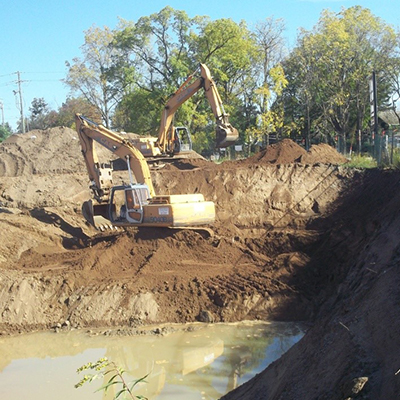 excavator working in a job site