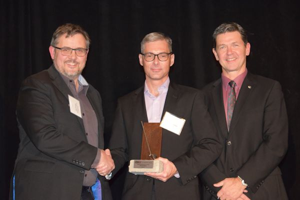 Mr. Peter Sutton of Terrapex accepted the award on behalf of the project team and can be seen here with Mr. Eric Pringle of the Canadian Brownfield Network and Mr. Todd Latham of Actual Media